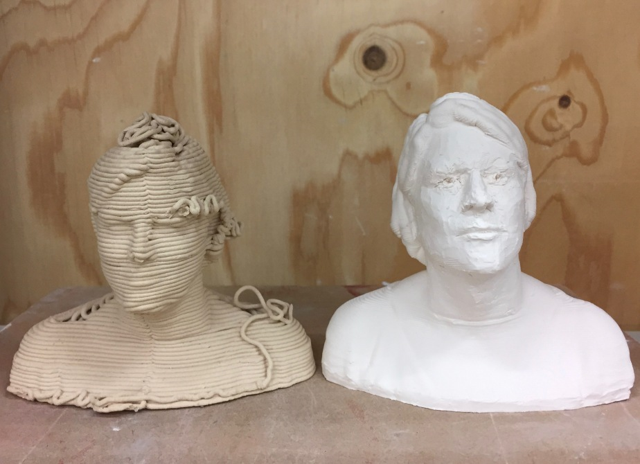 What's the point of portraiture in an age of 3D Printing? An exploration of a hybrid between the digital and the hand made.